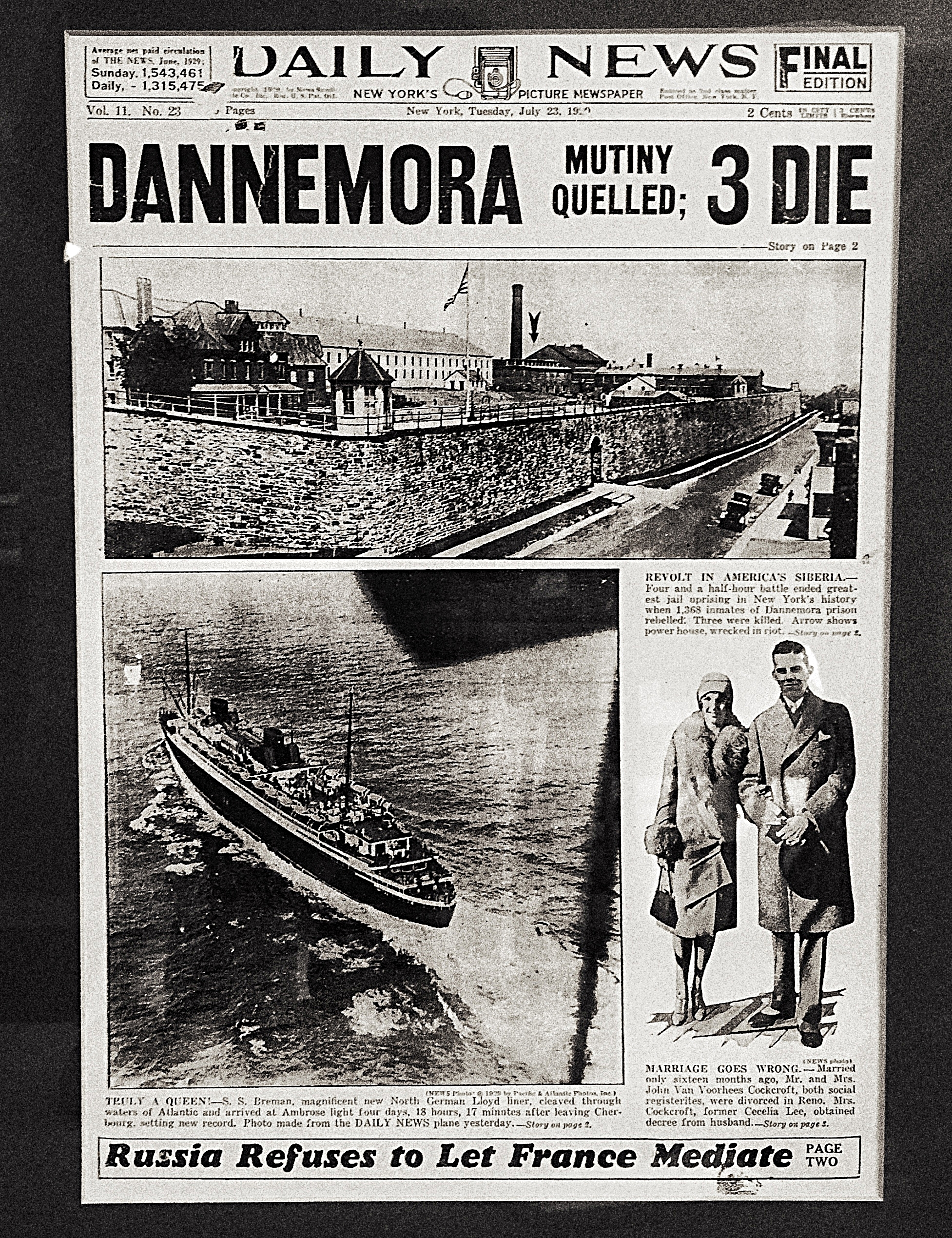 """The front page of the New York Daily News July 23, 1929, that reported of a prisoner mutiny in Dannemora. Image courtesy of historian Walter """"Pete"""" Light for the Museum at the Dannemora Free Library. (Chelsia Rose Marcius/June 17, 2015)"""