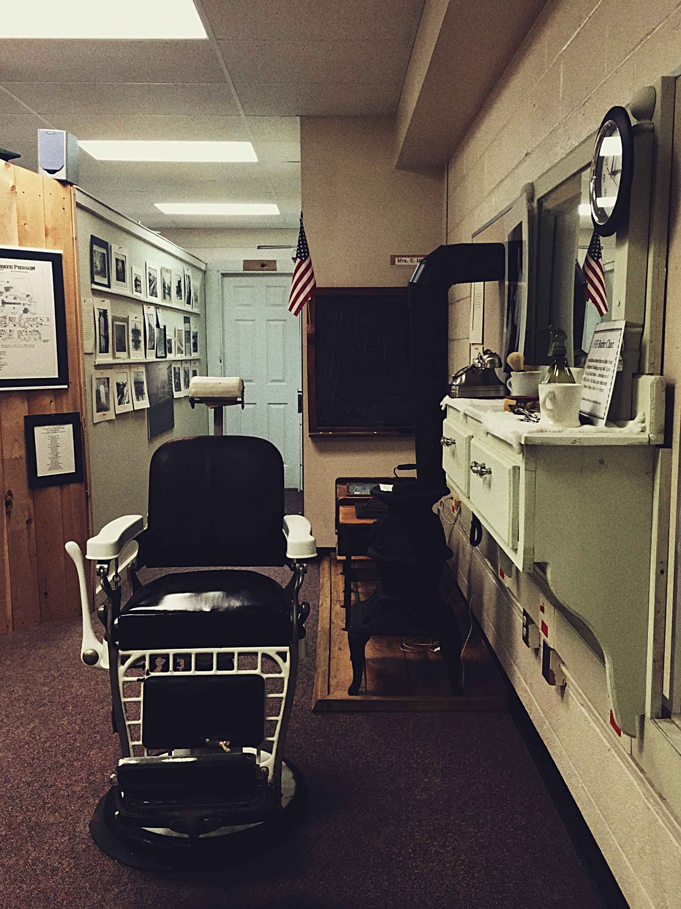 An old barber's chair from Clinton Correctional Facility on display in the Museum at the Dannemora Free Library.  (Chelsia Rose Marcius/Aug. 14, 2016)