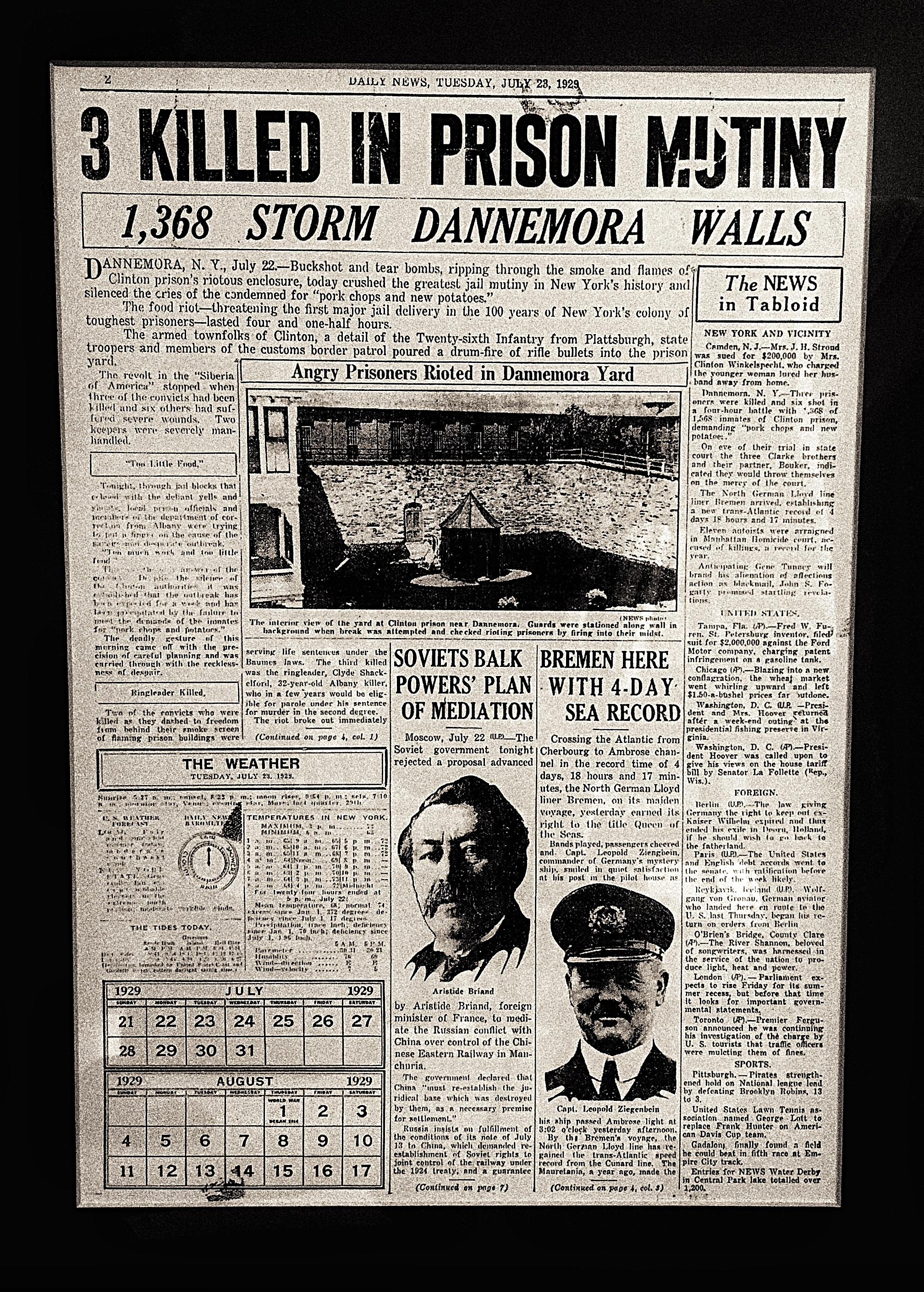 """Page from the New York Daily News July 23, 1929, which reported on a prisoner mutiny in Dannemora. Image courtesy of historian Walter """"Pete"""" Light for the Museum at the Dannemora Free Library. (Chelsia Rose Marcius/June 17, 2015)"""