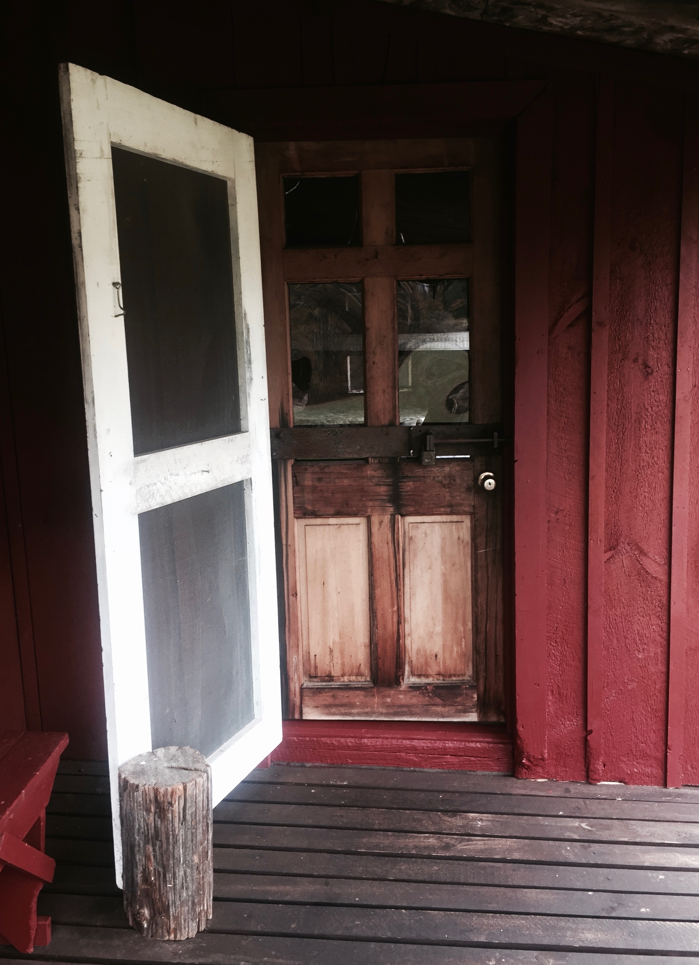 The front door to the Doll House, one of the many cabins David Sweat and Richard Matt raided while on the run.  (Chelsia Rose Marcius/Oct. 16, 2016)