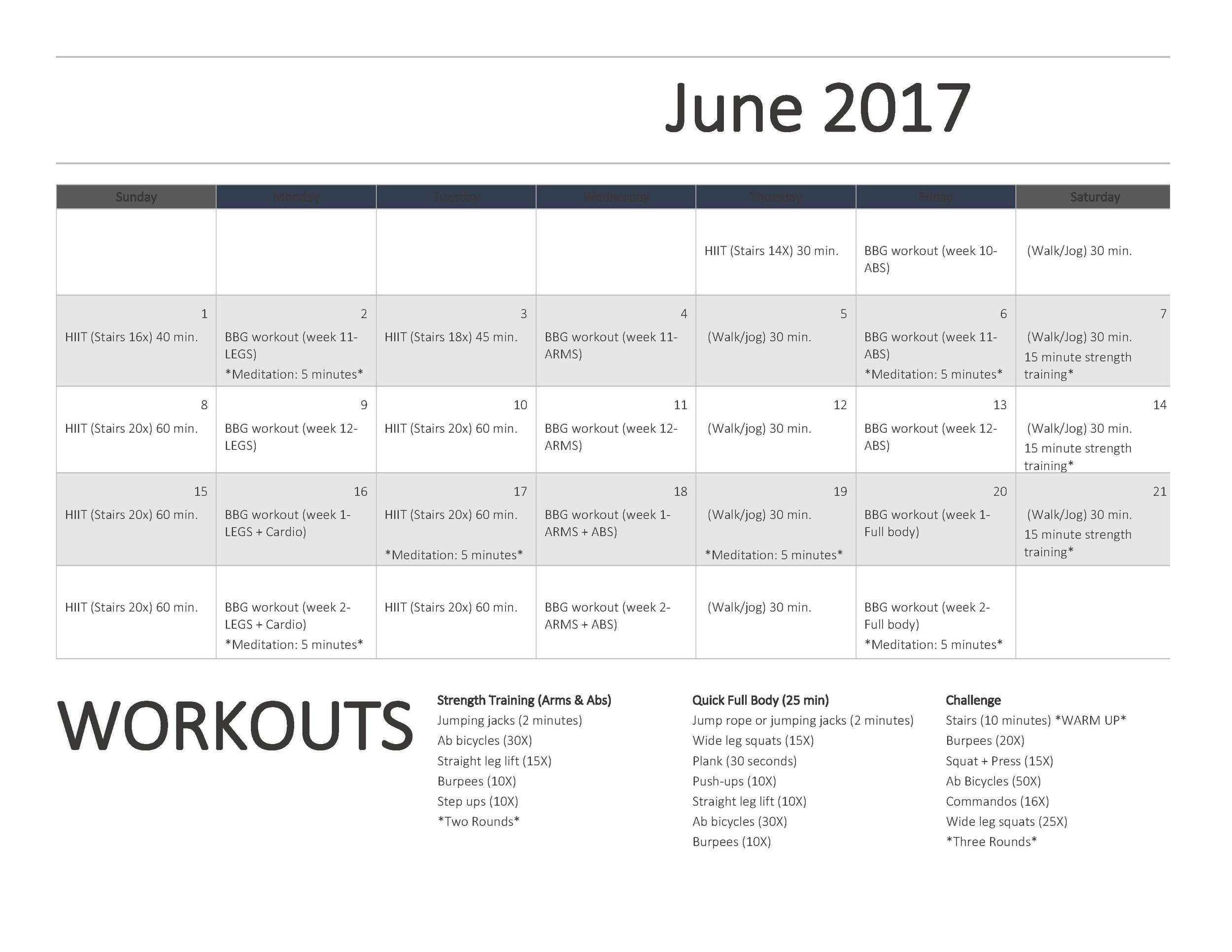 June Refresh Series Workout Calendar + Workout Ideas