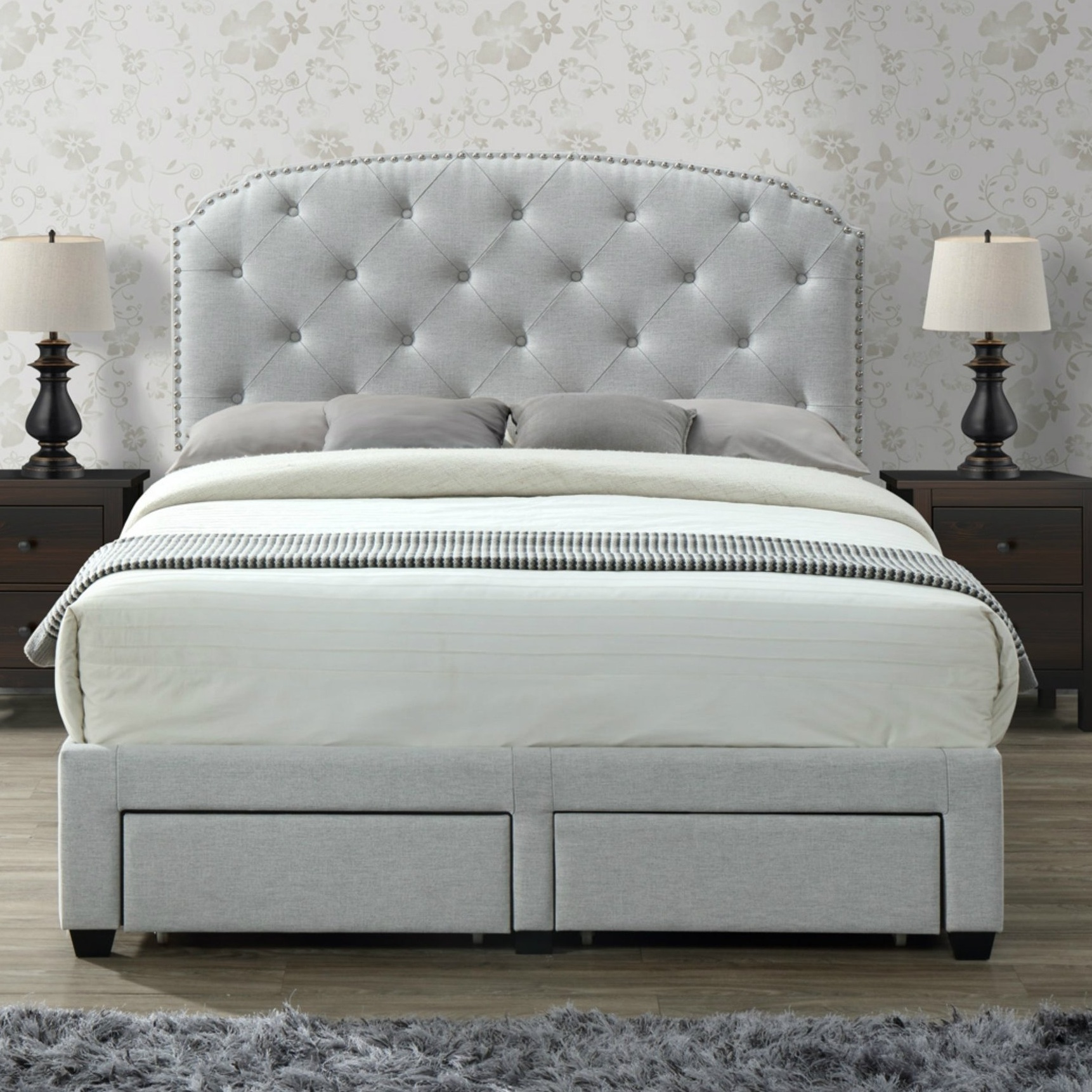 grey tufted queen bed with storage