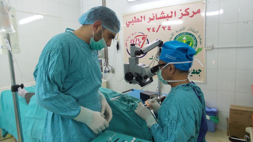 Dr Francis Nathan working in Tripoli, Lebanon, March 2016. [Photo: PCRF]