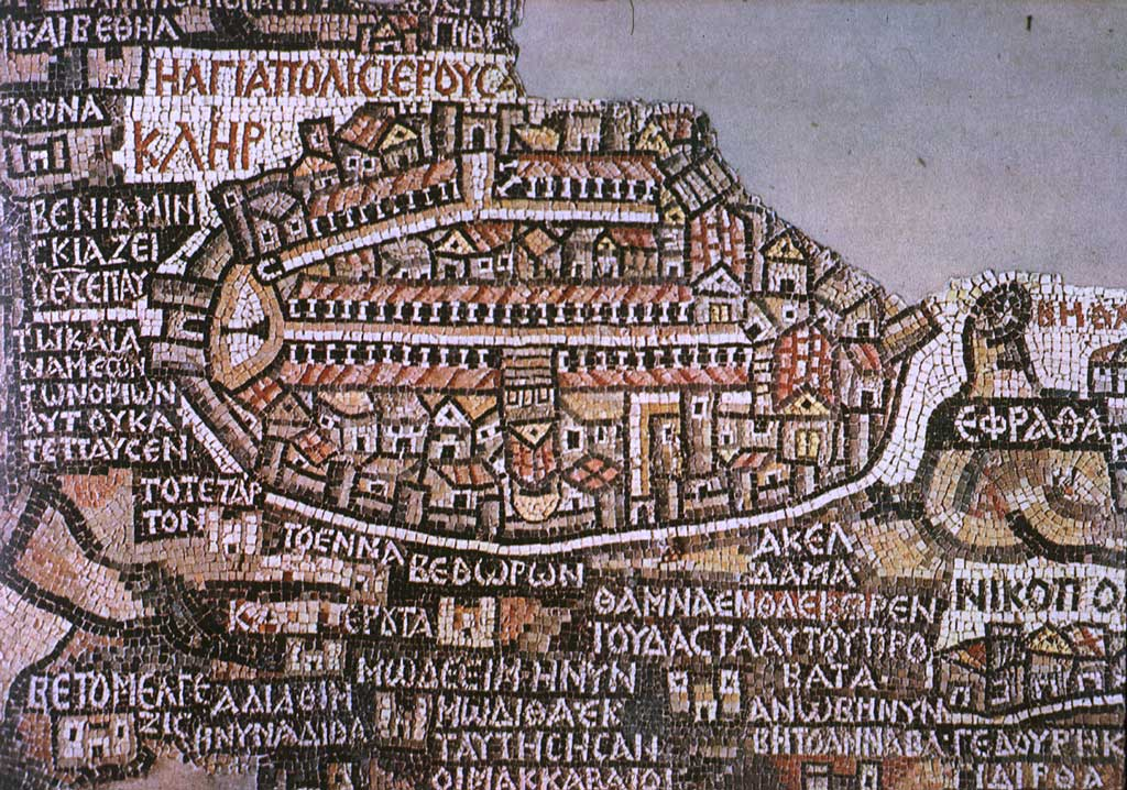 The mosaic map of Jerusalem in the 6th century found in a church in Madaba, Jordan. [Photo:Public domain via  Wikimedia Commons ]