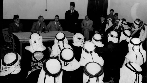 Beersheba, April 1947: the British High Commissioner in Palestine, Sir Alan Cunningham (seated at centre of table), addresses Bedouin elders from Beersheba and Gaza regarding a drought in the area.