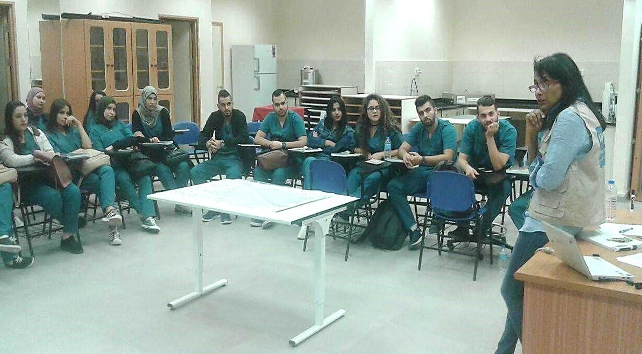 Merlin teaching a class at the Arab American University, Jenin (West Bank, Palestine)