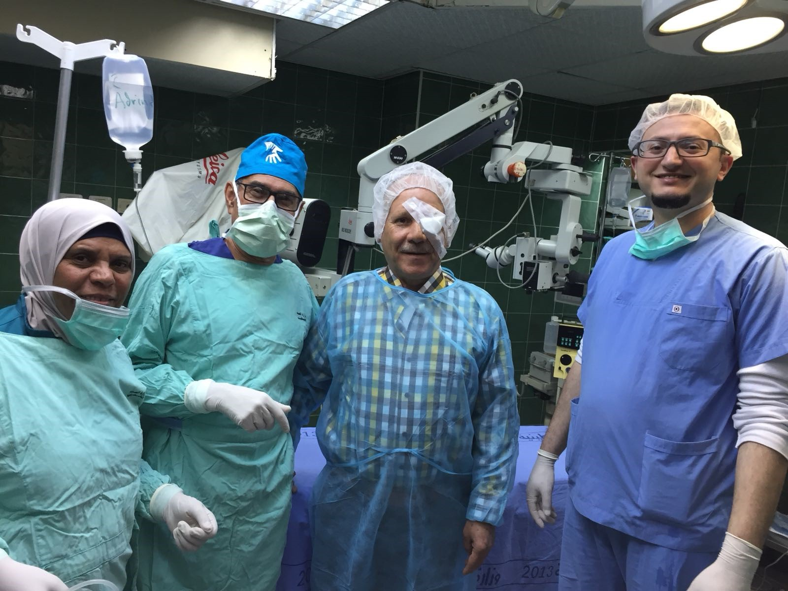 First patient operated on with the new PCRF phaco machine.