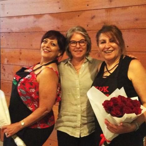 AFOPA Secretary Jeanie Lucas (centre) with our wonderful chefs Enaam Oudih (L) and Omaya Elassaad (R).