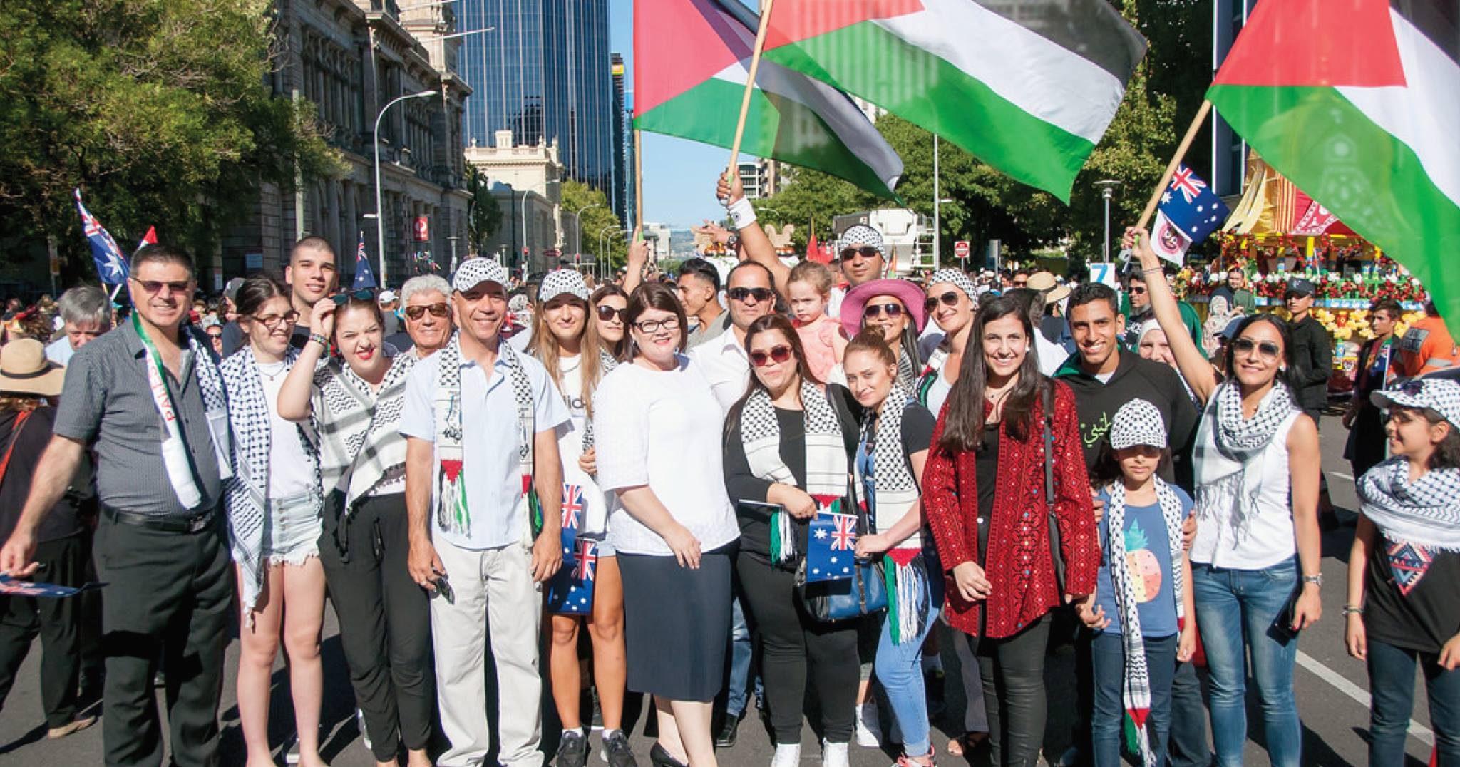 The Palestinian community at last year's Australia Day Parade in Adelaide. [Photo: Glimmer of Hope]