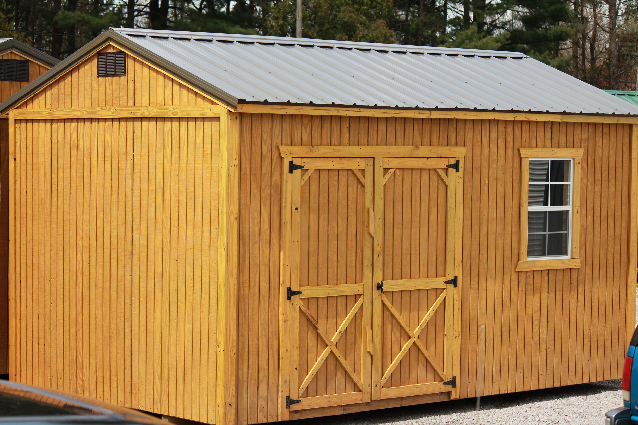 pressure treated garden shed featuring the additional wall height which includes a small loft.JPG
