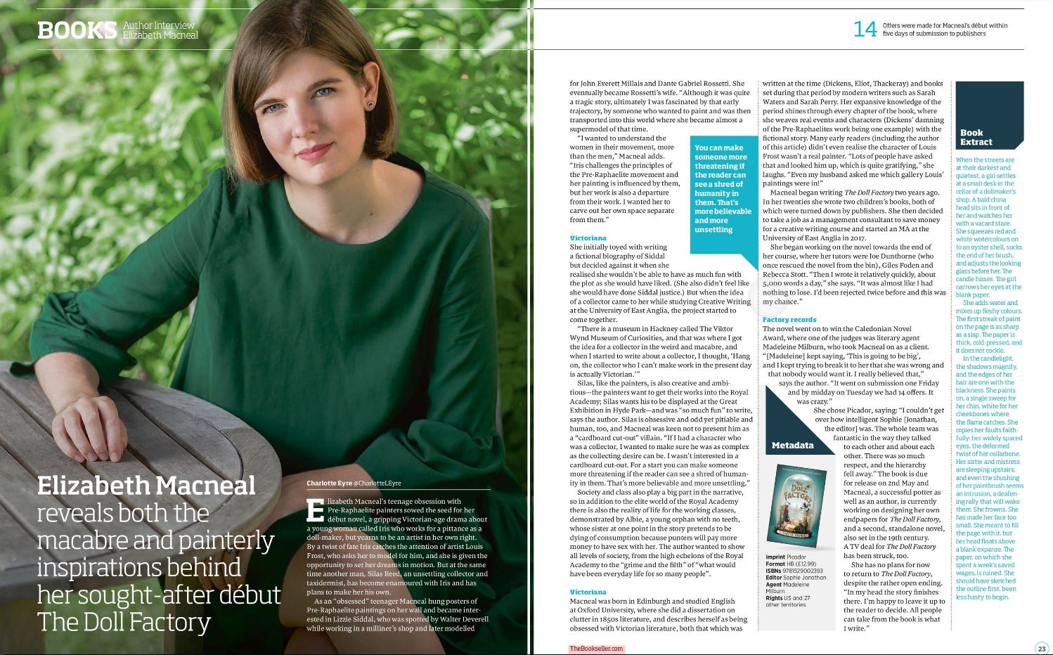 This interview was featured in  The Bookseller  on 1st March 2019.