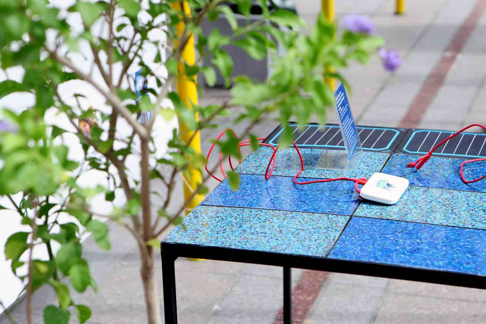 Our first prototype: Smart eco-table made of upcycled soft drink caps