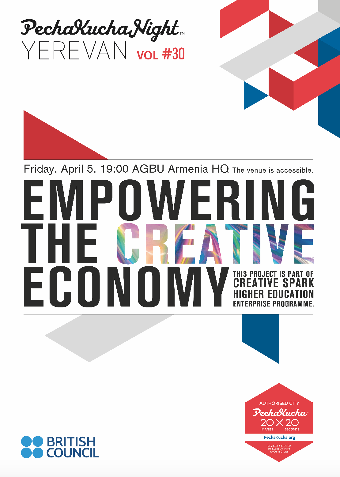 "Vol. 30 - Creative Economy - Hearing from 10 initiatives empowering the Creative Economy in Armenia, as part of  ""Creative Spark"" programme by British Council.Poster by Peno Mishoyan / Proper"