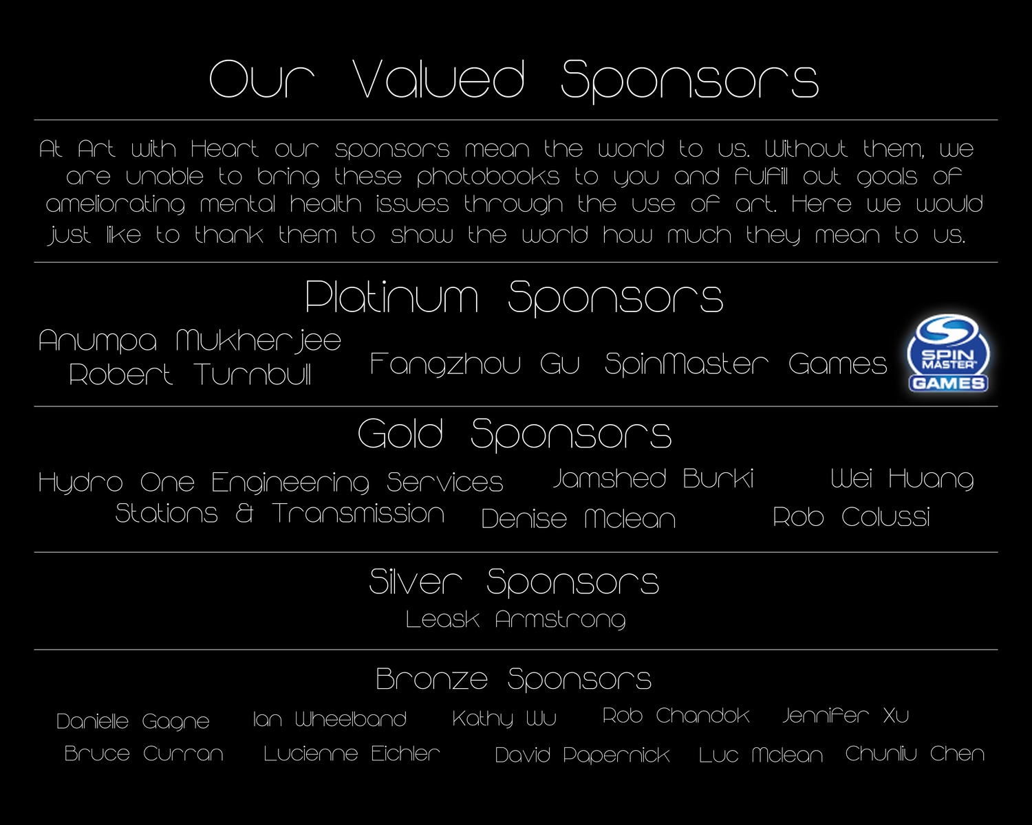 Thank you so much to all the sponsors who helped us reach our goal!