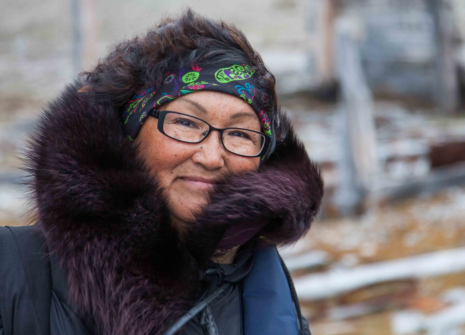 Artist and Students on Ice educator Annie Petaulassie wearing her Art with Heart BUFF!