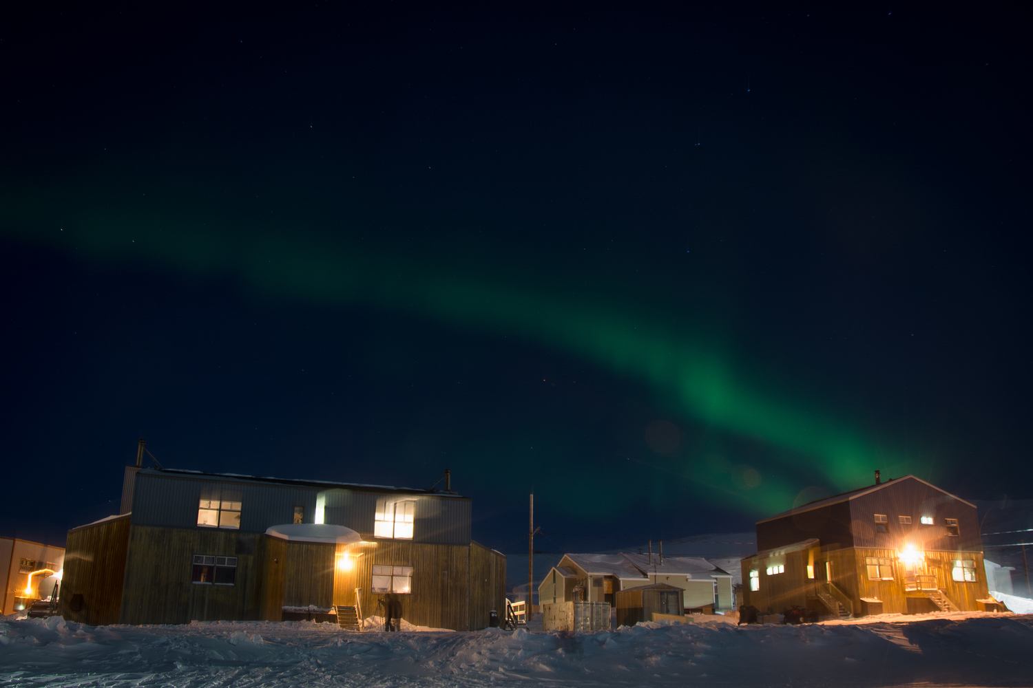 Eva's picture of the northern lights flickering over the complex that we stayed in.