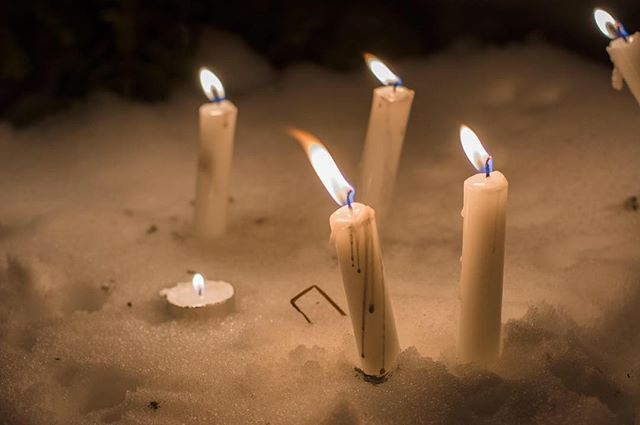"""During the Nain In Focus workshop, little candles were lit around a campfire to """"spark"""" some mental health conversation. #NorthInFocus #NIF #MentalHealth #NainInFocus"""