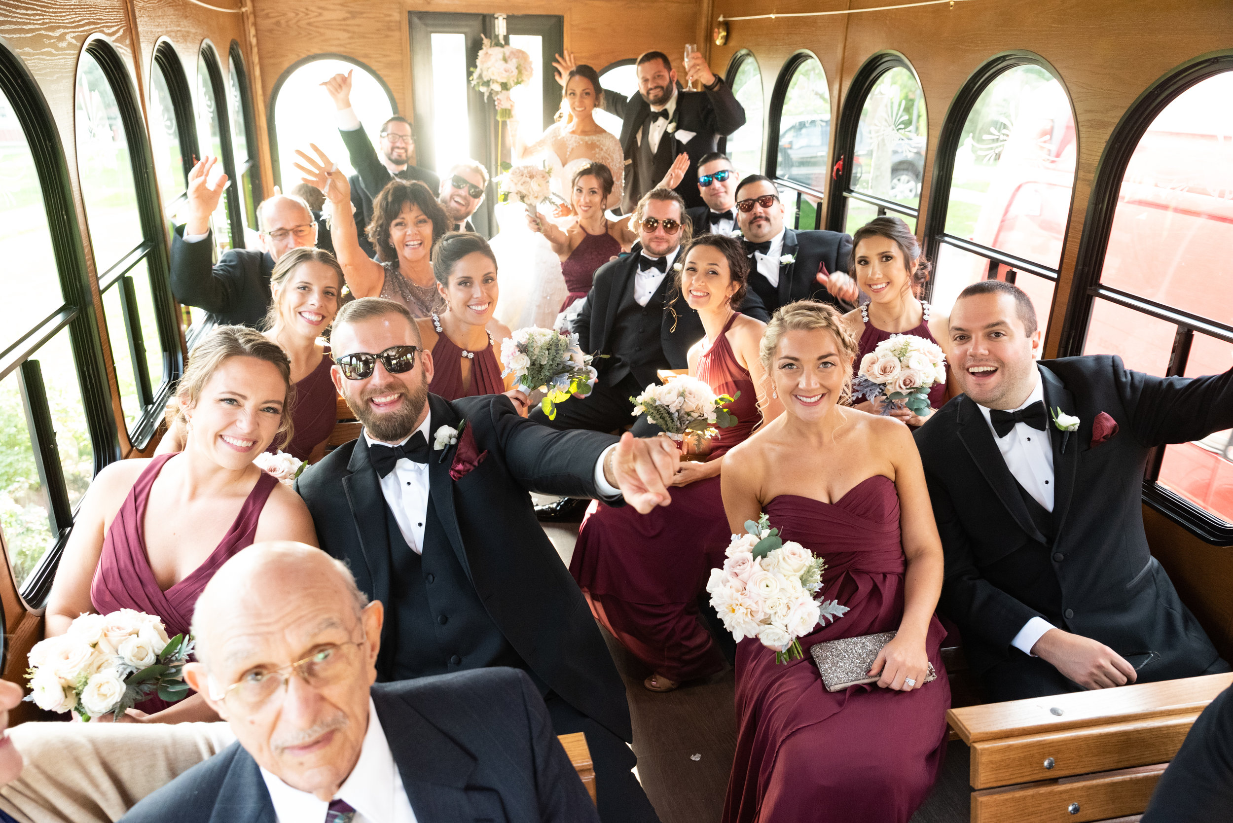 PARTY BUS - Wedding trolley, limo, or party bus, your laugher and joy from the ceremony to the reception won't be forgotten.