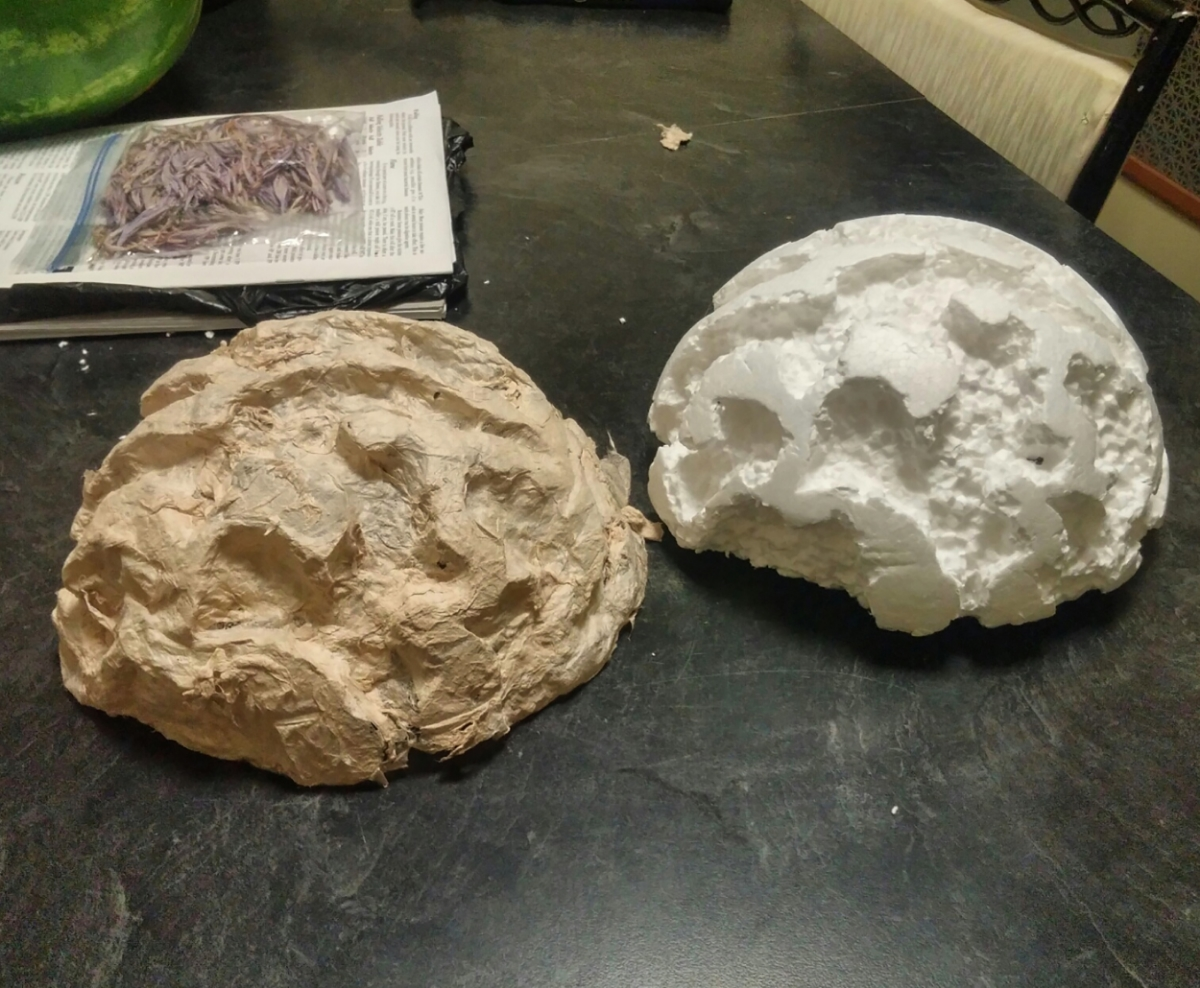 On the left is Tony's mould with gampi fiber over it. On the right is the mould without the fiber.