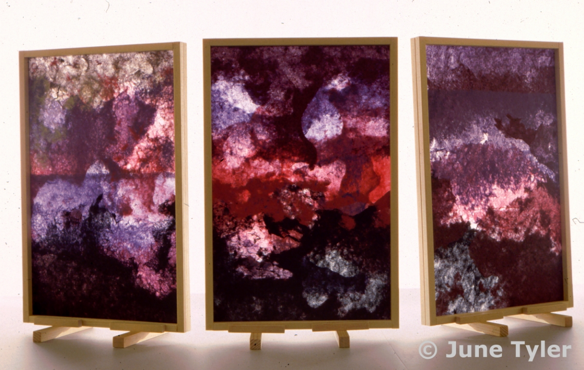 """Land, Sky, & Sea"" 1988 Handmade Paper 18"" x 12"" each panel"