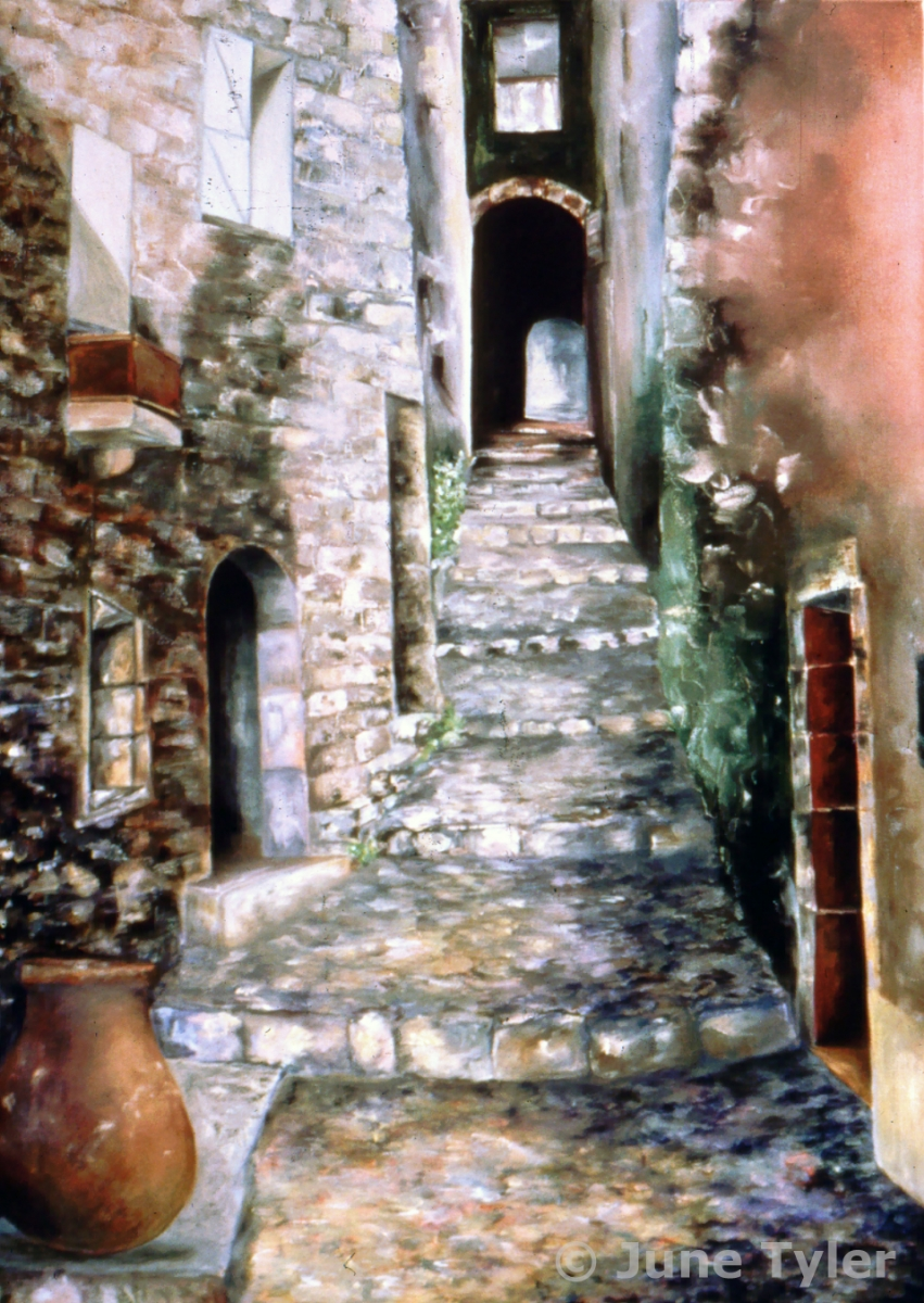 """Passageway in St. Paul de Vence"" 1987 Oil on Canvas 42"" x 30"" private collection (Ruby)"