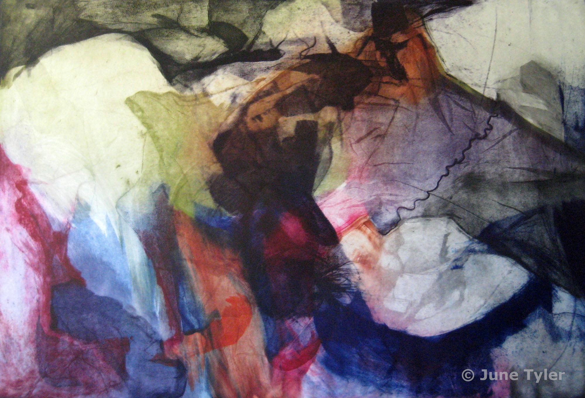 """Veins... Living Space"" 1978 Intaglio Monoprint 23.75"" x 35"""