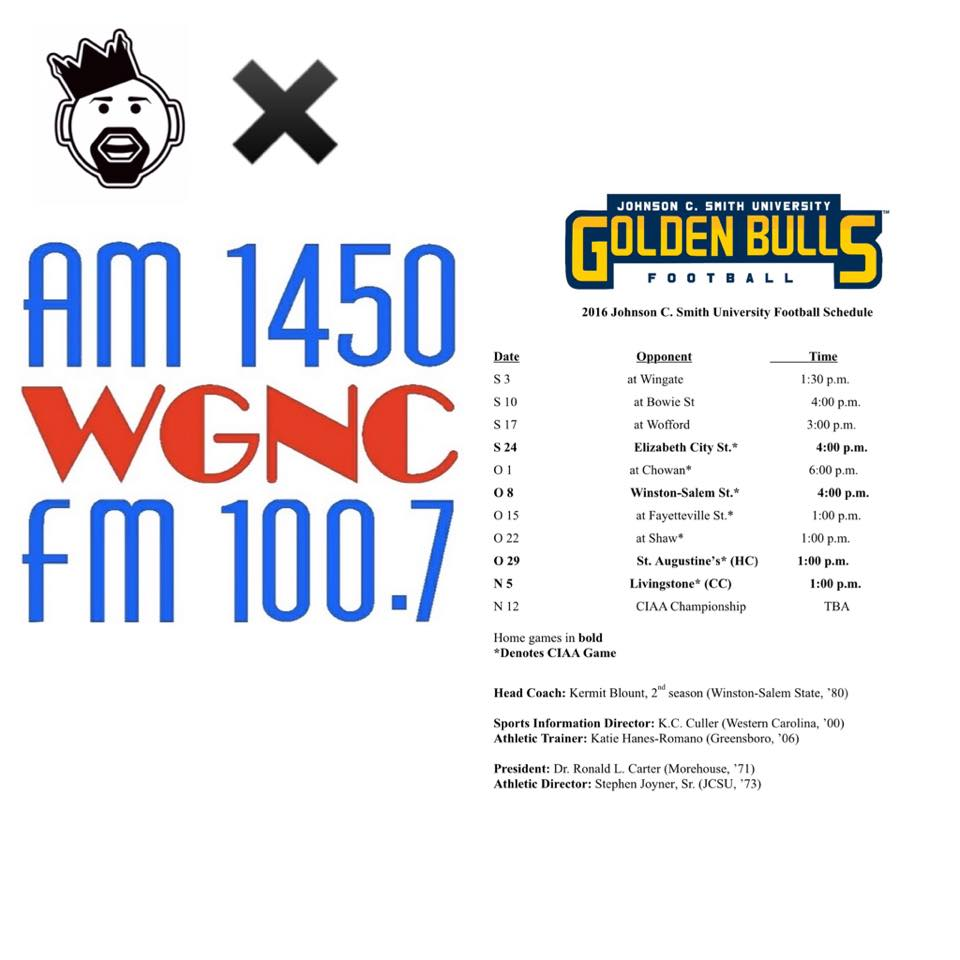 For the remaining 2016 season, I will be providing color commentary for @jcsu_athletics during Golden Bulls football broadcasts alongside @friedman_dave on play by play on WGNC (AM1450/FM 100.7). Watch the live streaming broadcast via: www.wgnc.net/jcsn/