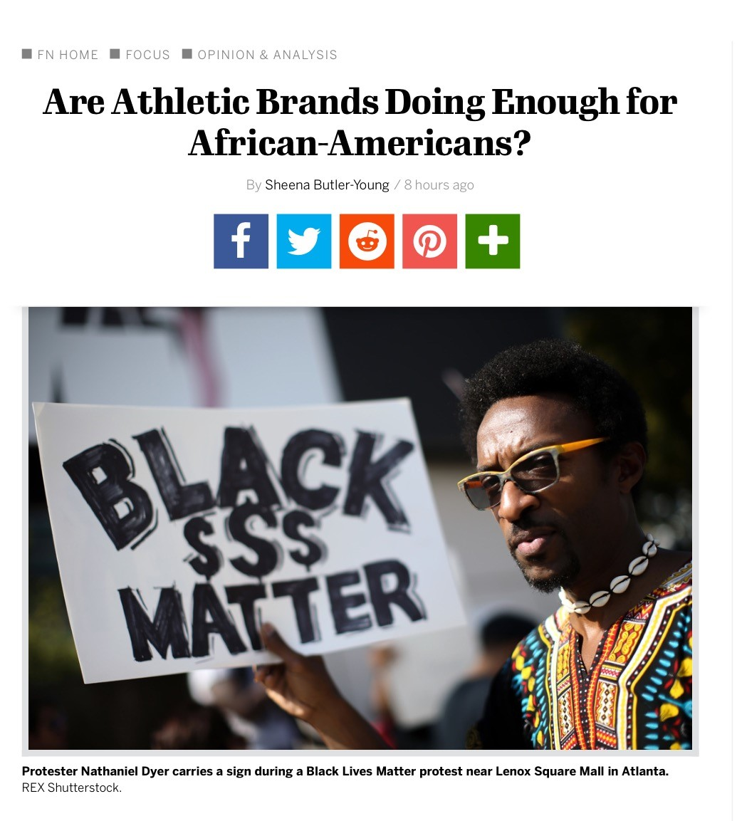 I was interviewed by footwearnews.com on the lack of support from Athletic Brands to the African-American Community.