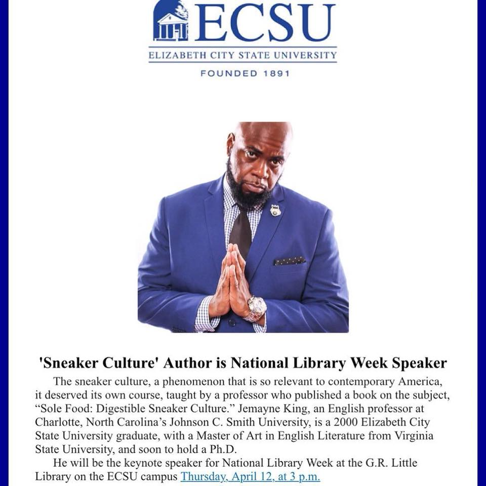 Repost from @blelliott_ using @RepostRegramApp - 'Sneaker Culture' Author is National Library Week Speaker ‼️Event is at the G.R. Little Library on the ECSU campus Thursday, April 12, at 3 p.m. ‼️