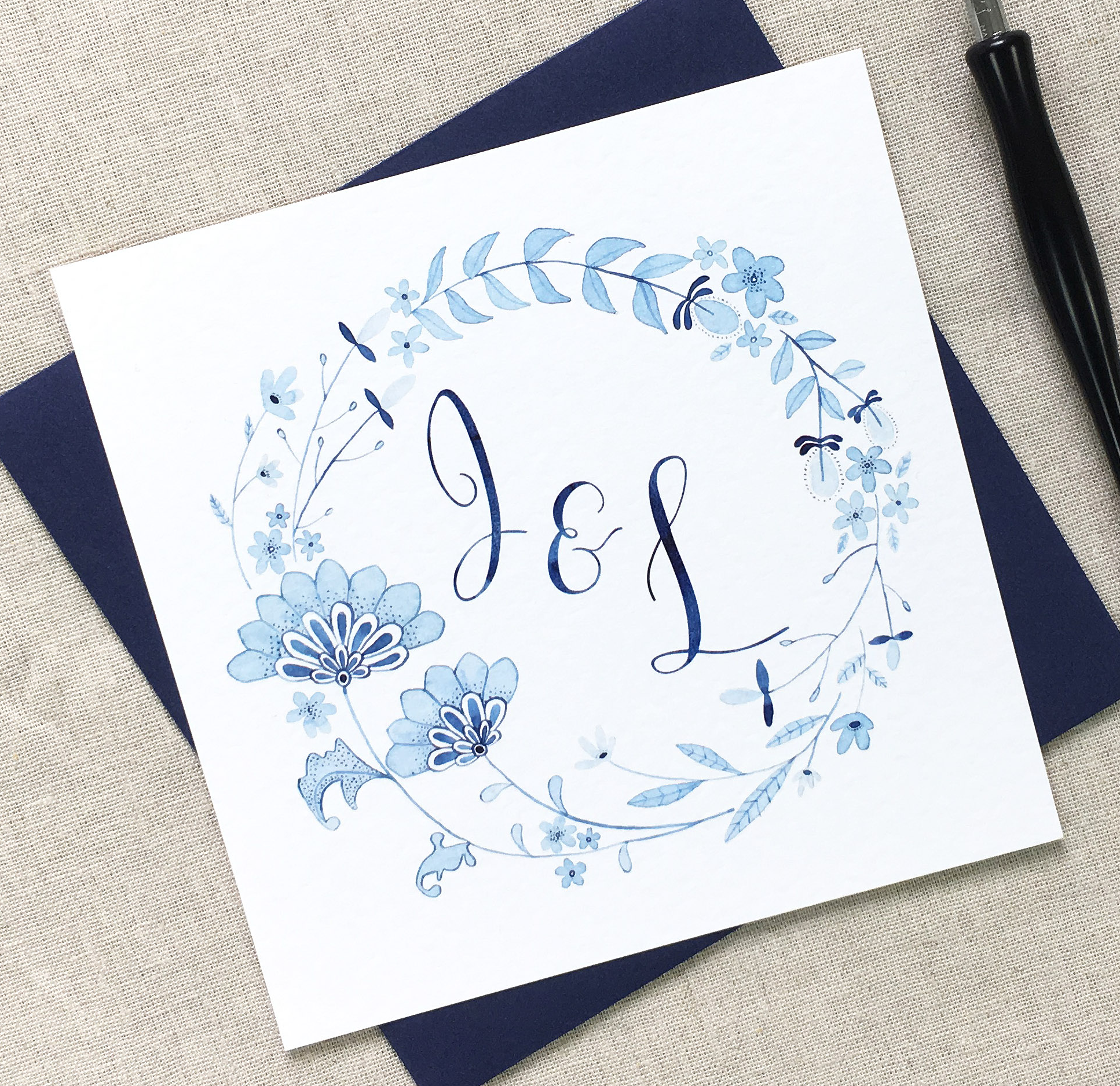 CELESTE    The Celeste range is an elegant, Mediterranean-inspired collection, created using beautiful tones of blue watercolour, adding a fresh and pretty touch to your wedding.