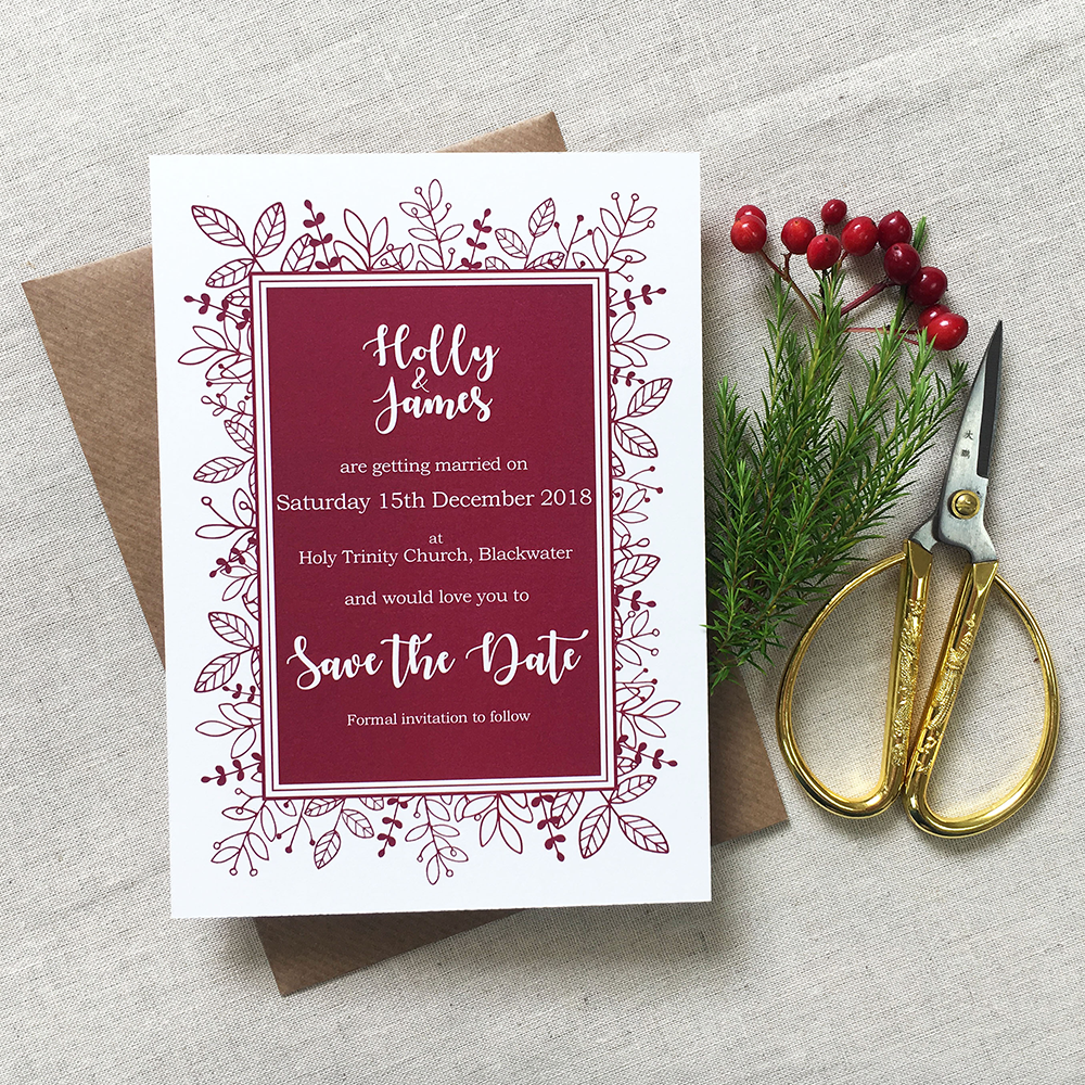 MULBERRY    A gorgeous, seasonal collection with rich berry-tones and fine, hand drawn foliage, framing all of the special details of your wedding day. This collection would be perfect for an autumn, winter or Christmas wedding.
