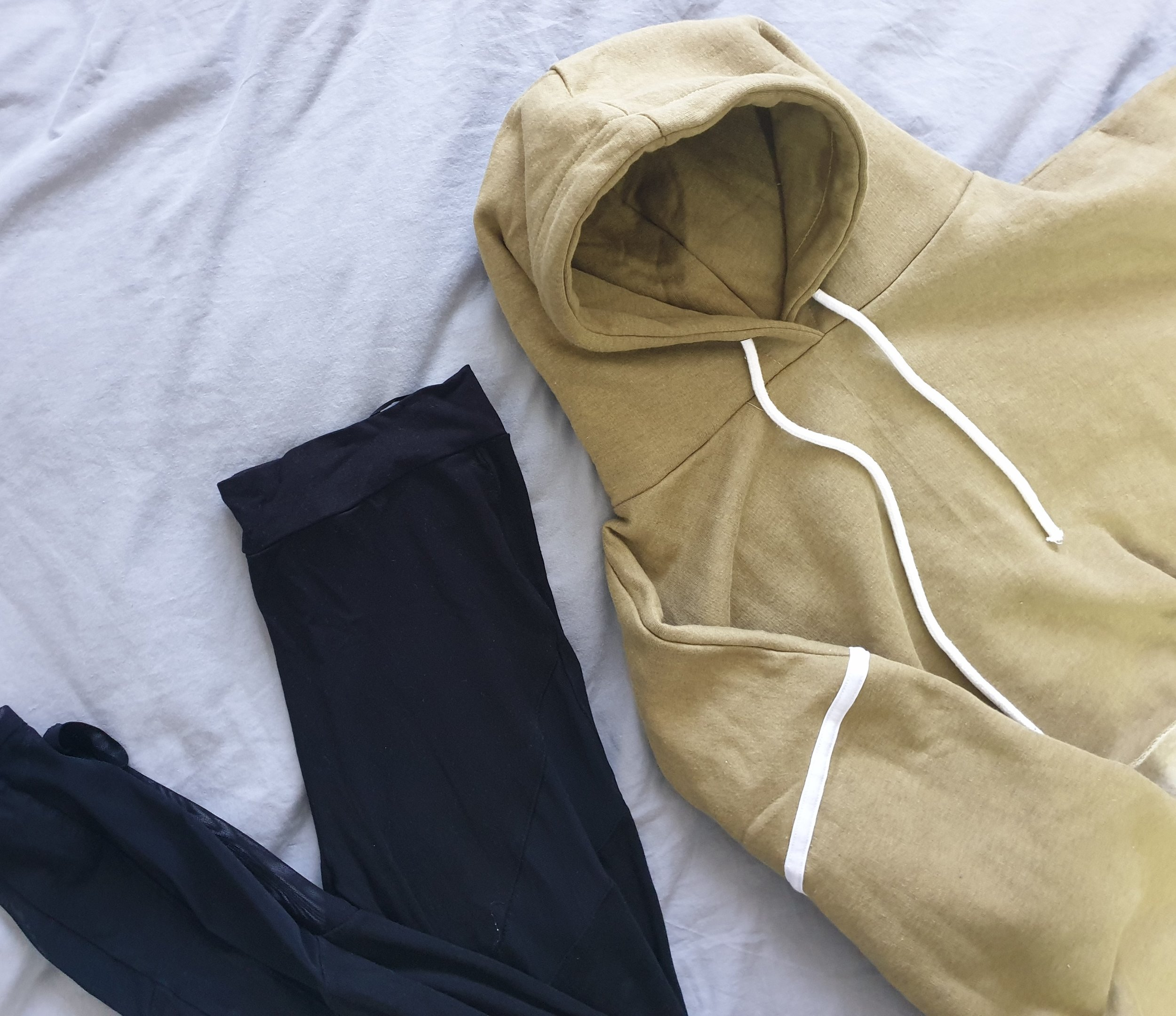 fashion blogger lazy sunday inspired ootd outfit of the day https://femmeluxefinery.co.uk/products/khaki-stripe-hooded-crop-sweater-jumper-gia
