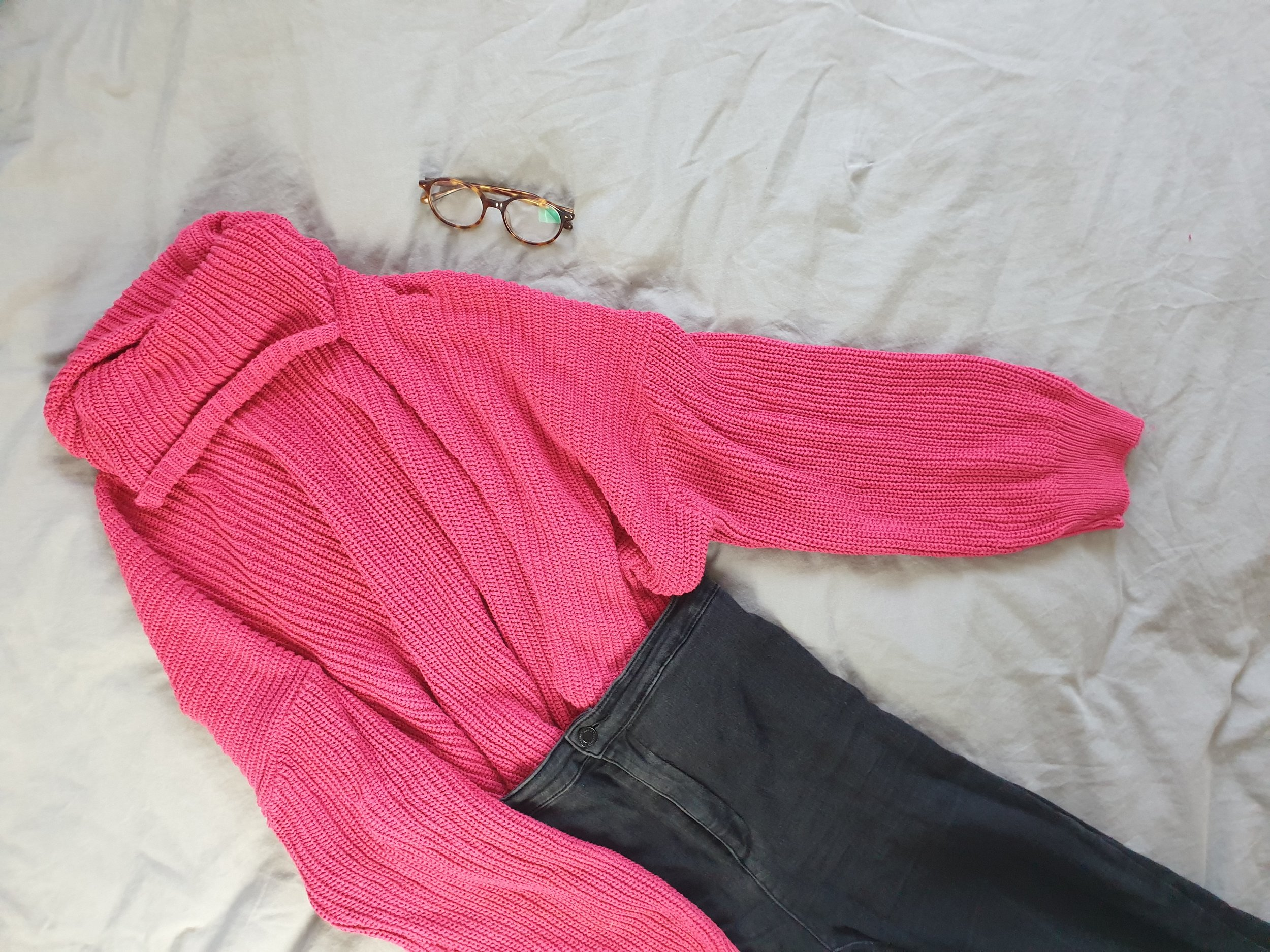 fashion blogger office wallflower inspired ootd outfit of the day https://femmeluxefinery.co.uk/collections/hoodies-sweatshirts/products/fuchsia-knitted-oversized-polo-neck-jumper-polly