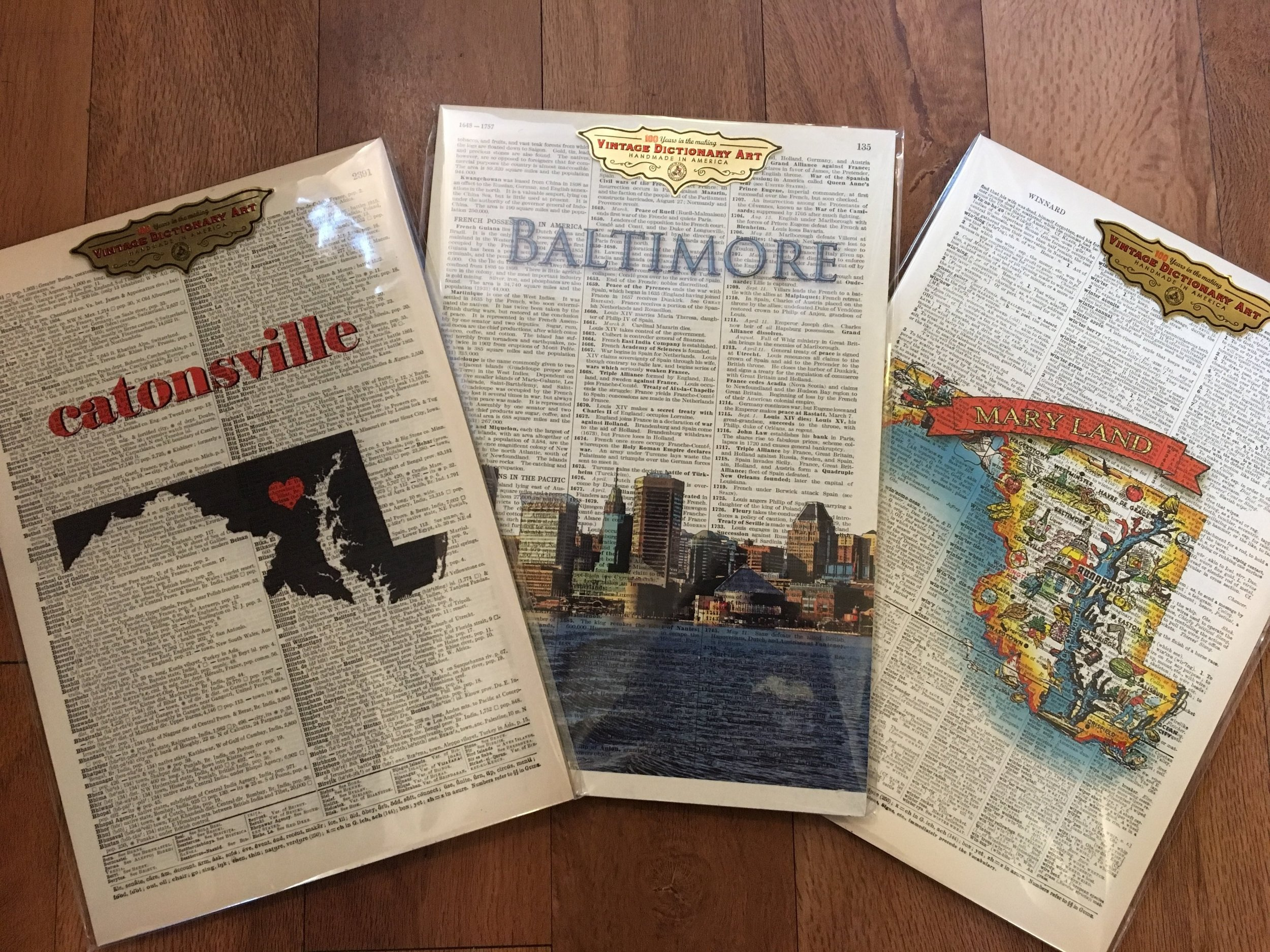 "Vintage Dictionary Art Signs    8"" by 11 1/2""    Locations:  Catonsville, Baltimore, Maryland    $23.99"