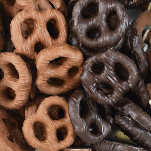 Chocolate Covered Pretzels    Available in milk and dark chocolate