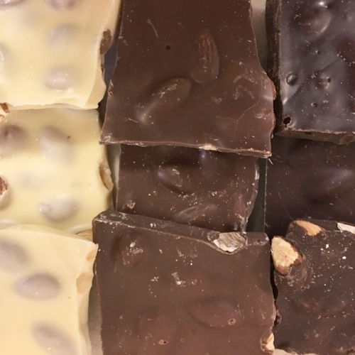 Almond Bark    Available in milk, dark and white chocolate