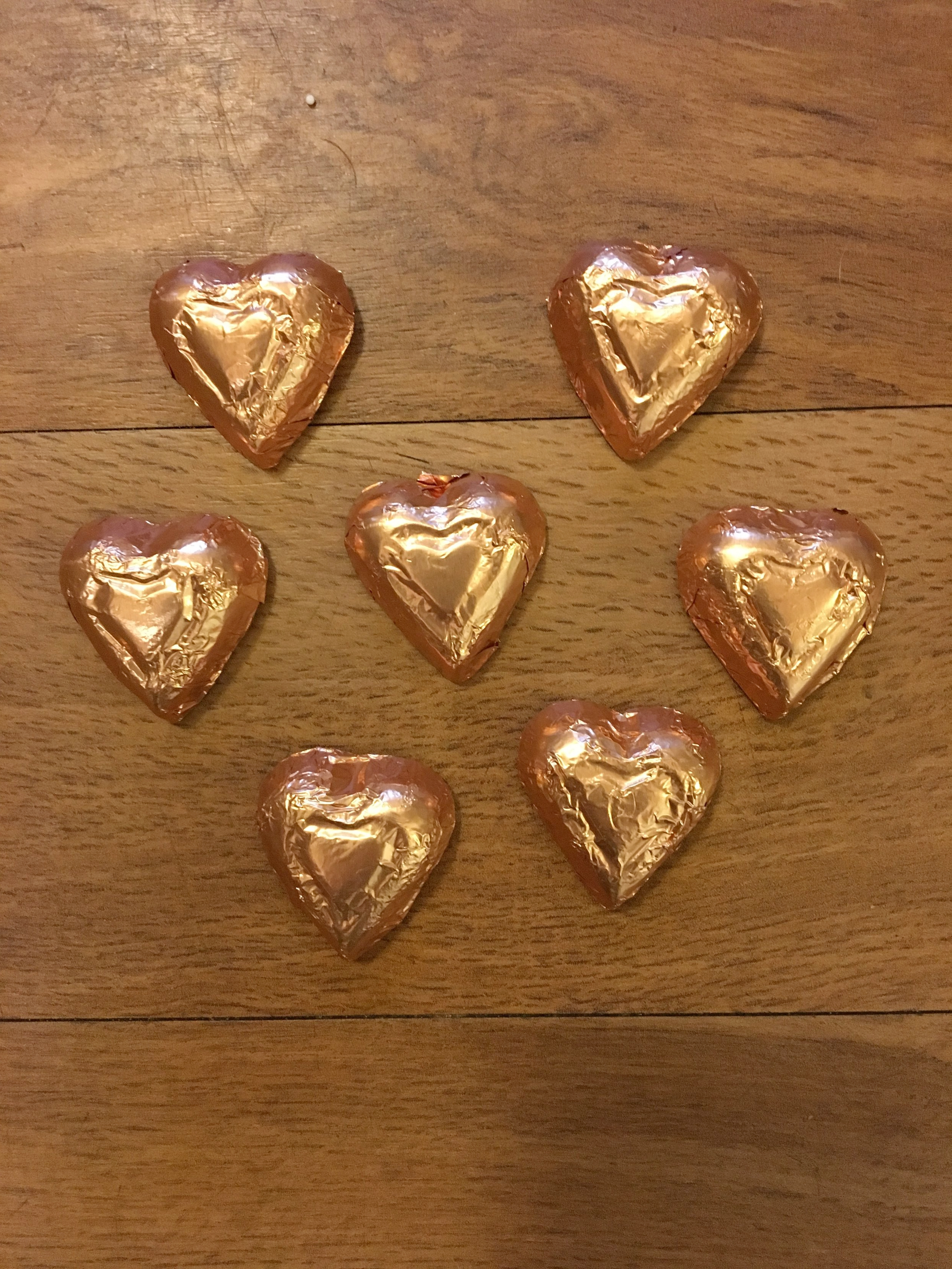 Gold Hearts   Available in dark chocolate    1 lb. - $14.95 1/2 lb. - $7.50 1/4 lb. - $3.75