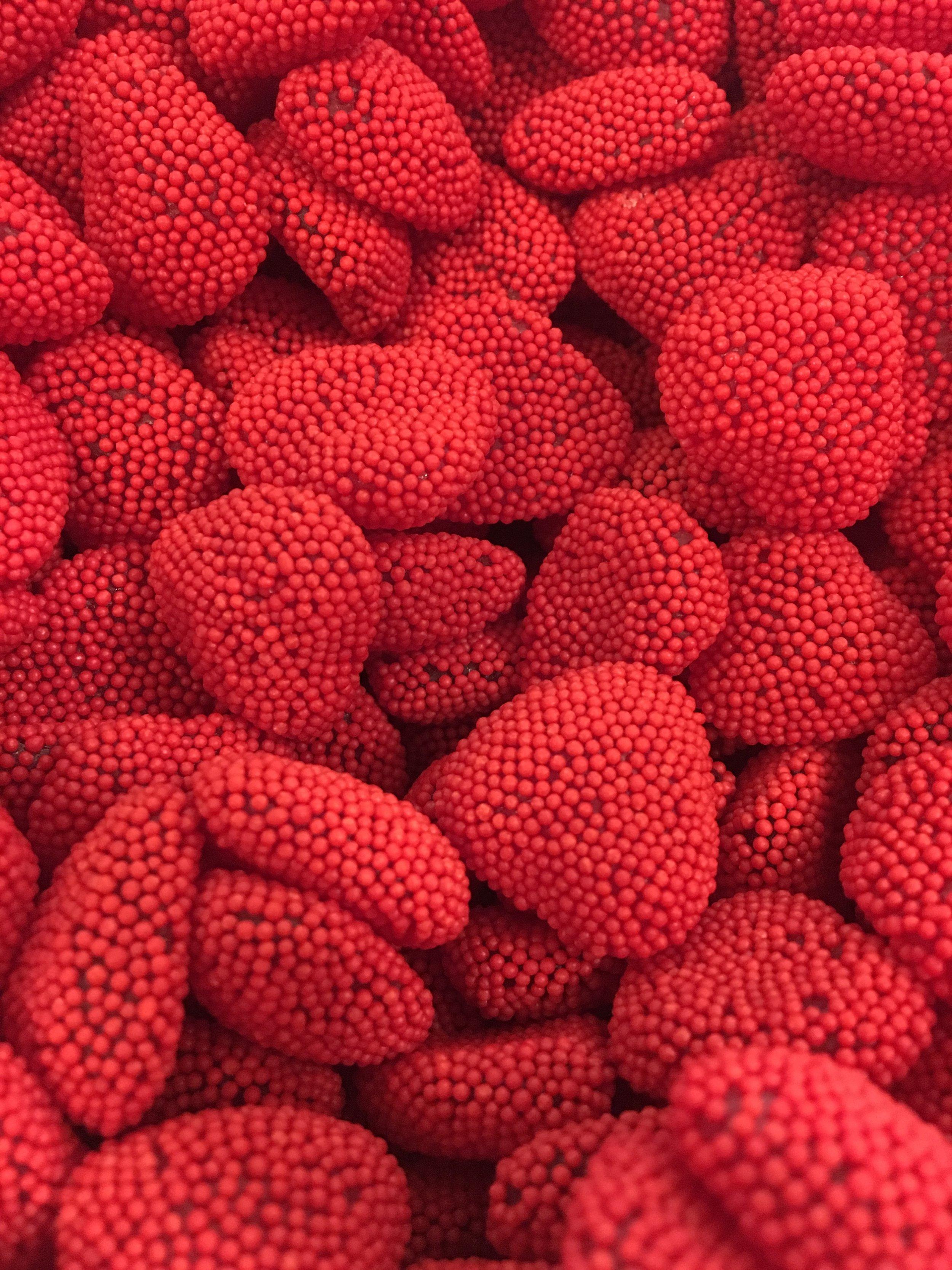 Raspberry Hearts    1 lb. - $8.95 1/2 lb. - $4.50 1/4 lb. - $2.25