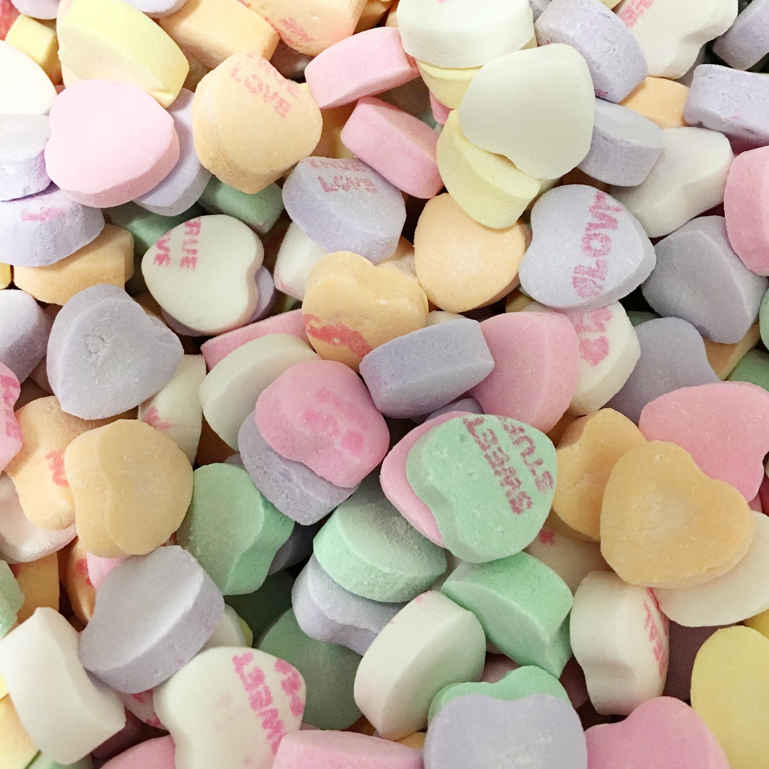 Necco Conversation Hearts    1 lb. - $4.95 1/2 lb. - $2.50 1/4 lb. - $1.25