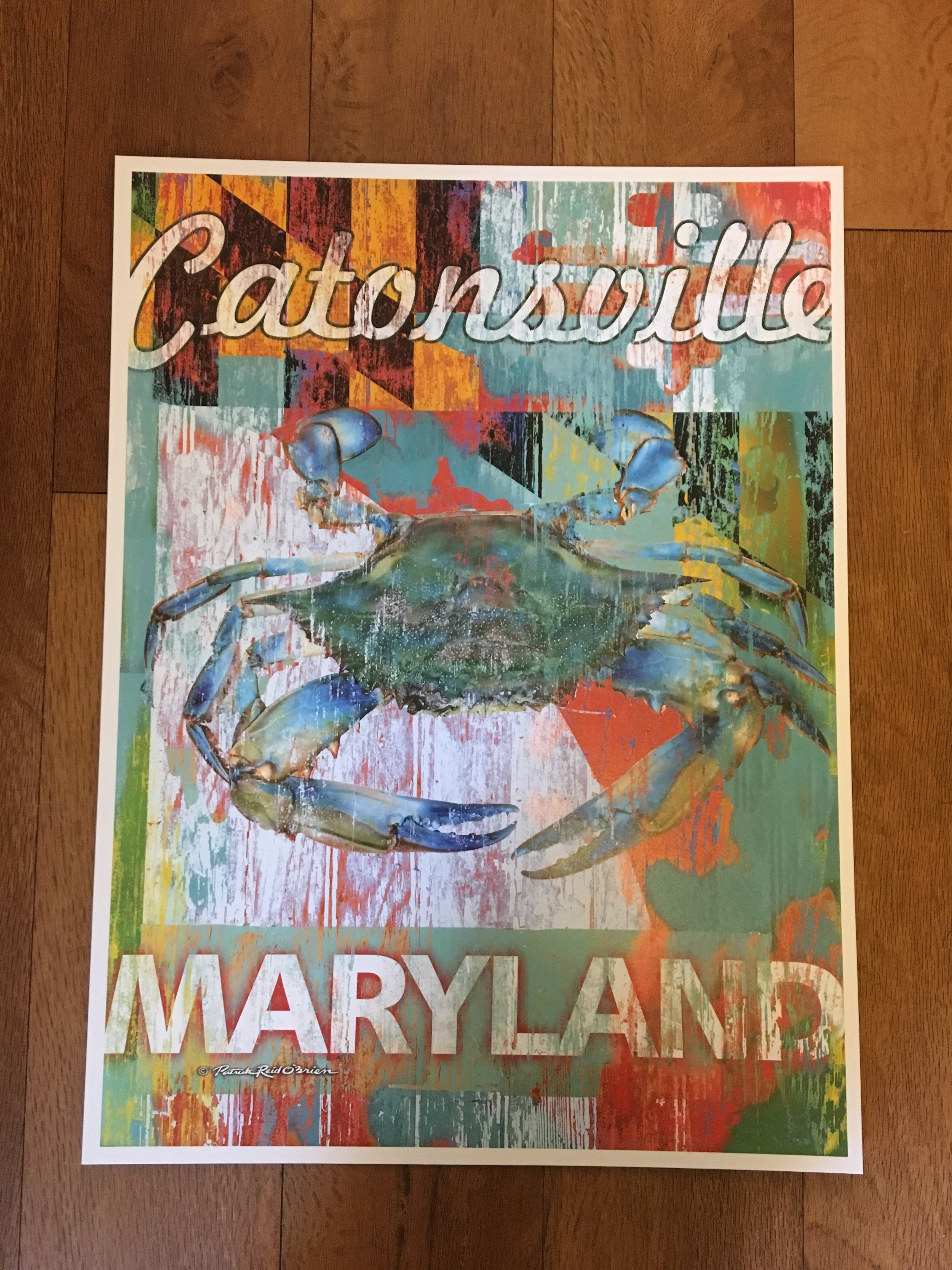 CATONSVILLE Maryland Crab Print by Patrick Reid O'Brien   12x16       $38.99 8 x 10       $20.99