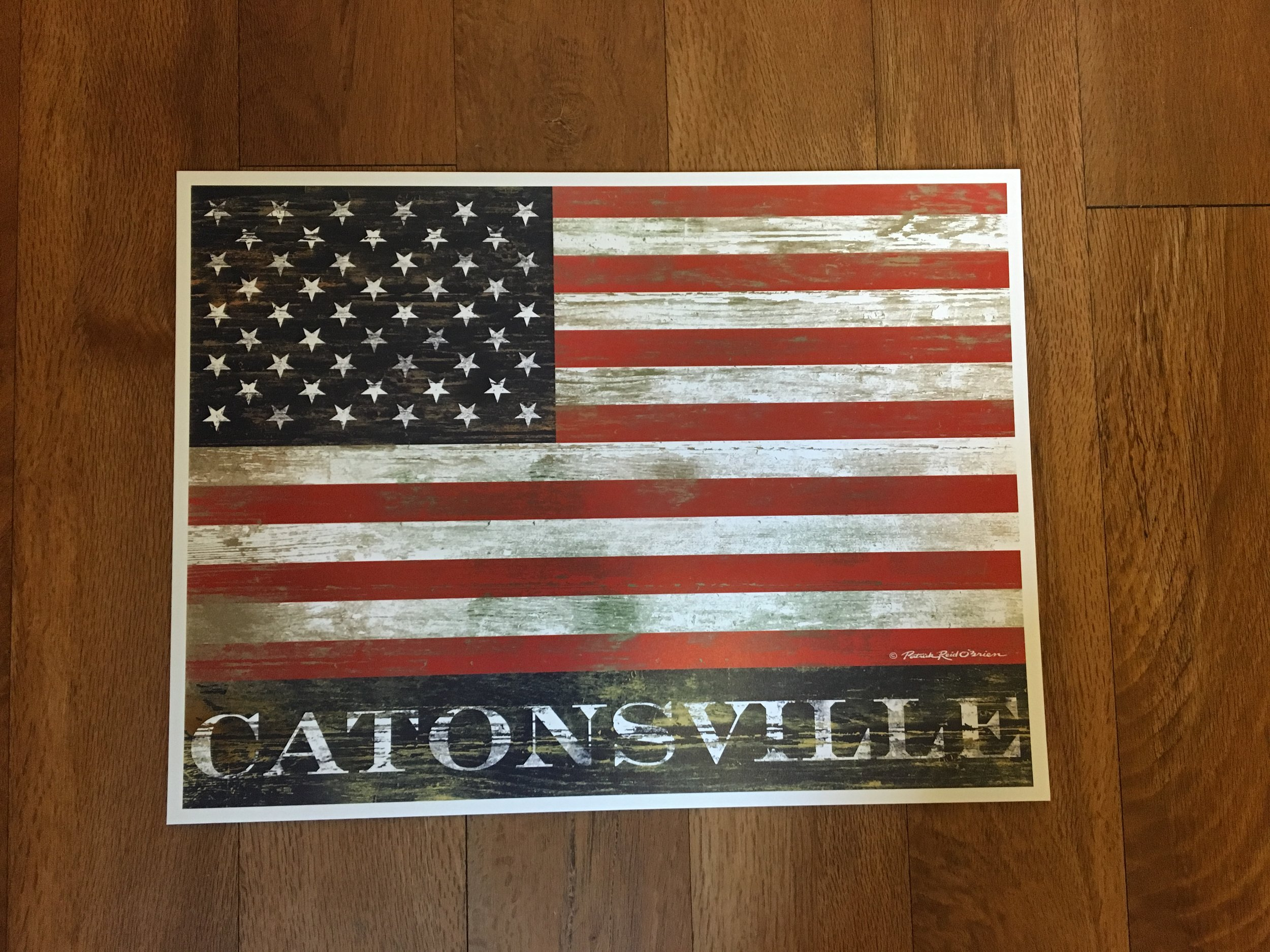 CATONSVILLE / American Flag Print by Patrick Reid O'Brien   12x16     $38.99