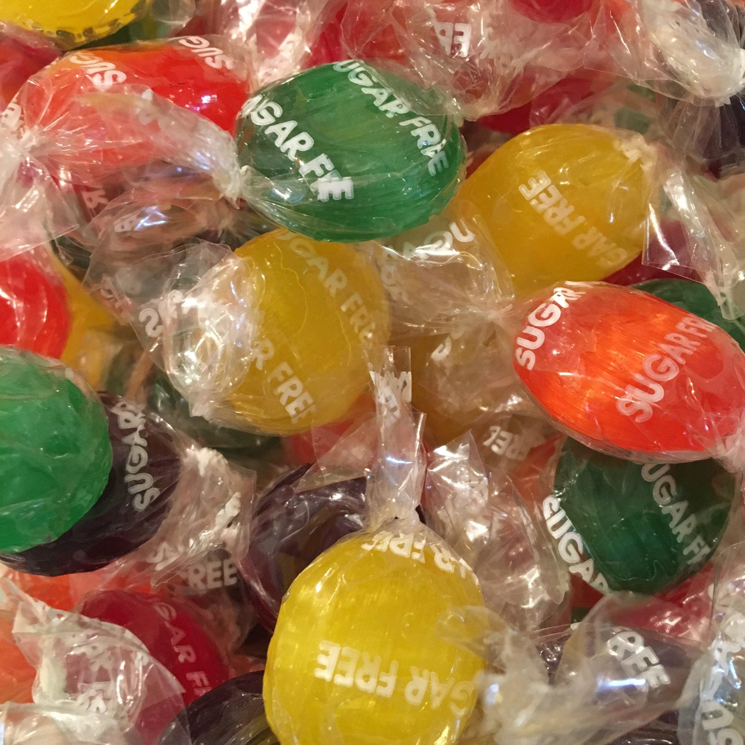 Sugar Free Fruit Buttons    10 cents each    1 lb. - $7.95    1/2 lb. - $4.00    1/4 lb. - $2.00