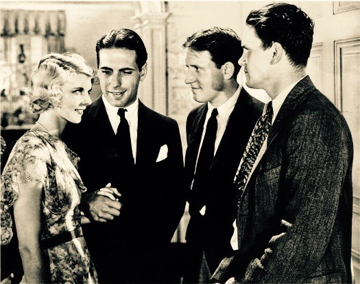 From left to right, Claire Luce, a young Humphrey Bogart, Spencer Tracy, and Warren Hymer in  Up the River  (1930). Warren had just broken into Hollywood the year before but was already successful enough that he was billed above Bogart in the credits.