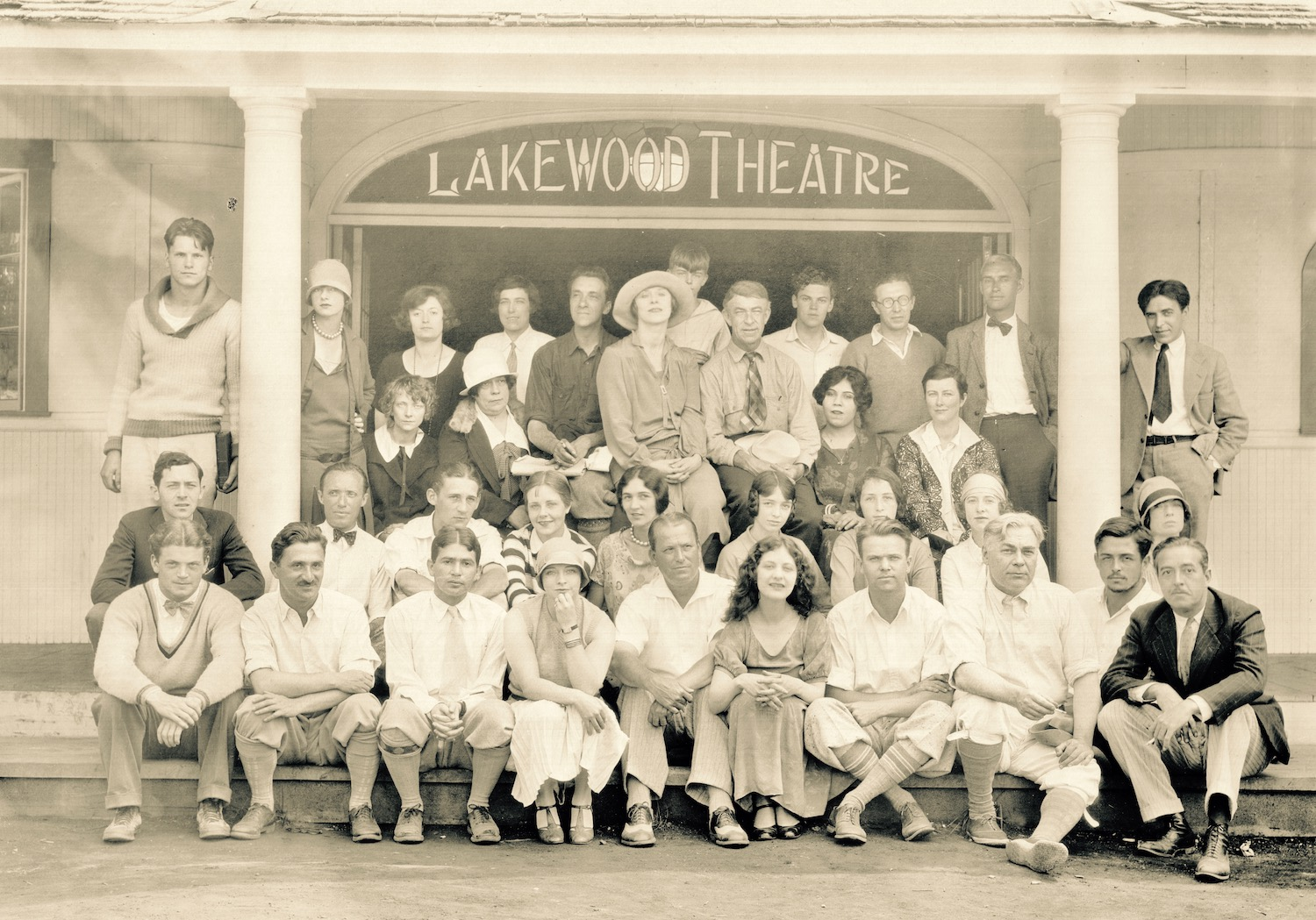 Warren Hymer (standing third row, left, leaning against the pillar) with the 1926 Lakewood Stock Company. Note the book in Warren's left hand; he would have been a 20-year-old Yale student, summering with his family at Lakewood when this photograph was taken. Warren's father, playwright John Bard Hymer, is seated fifth from the left in the front row.