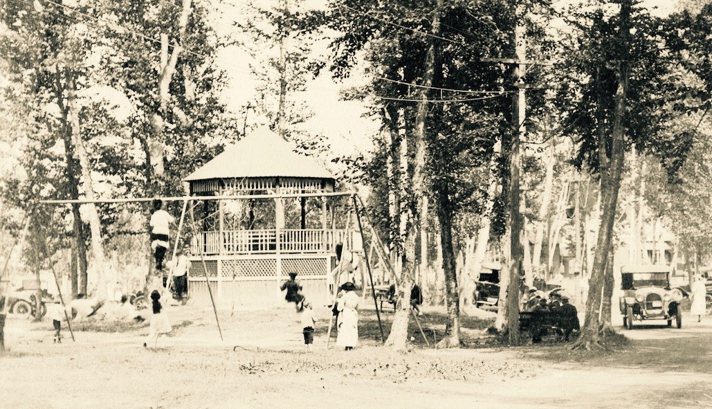 The old bandstand and playground at Lakewood Park