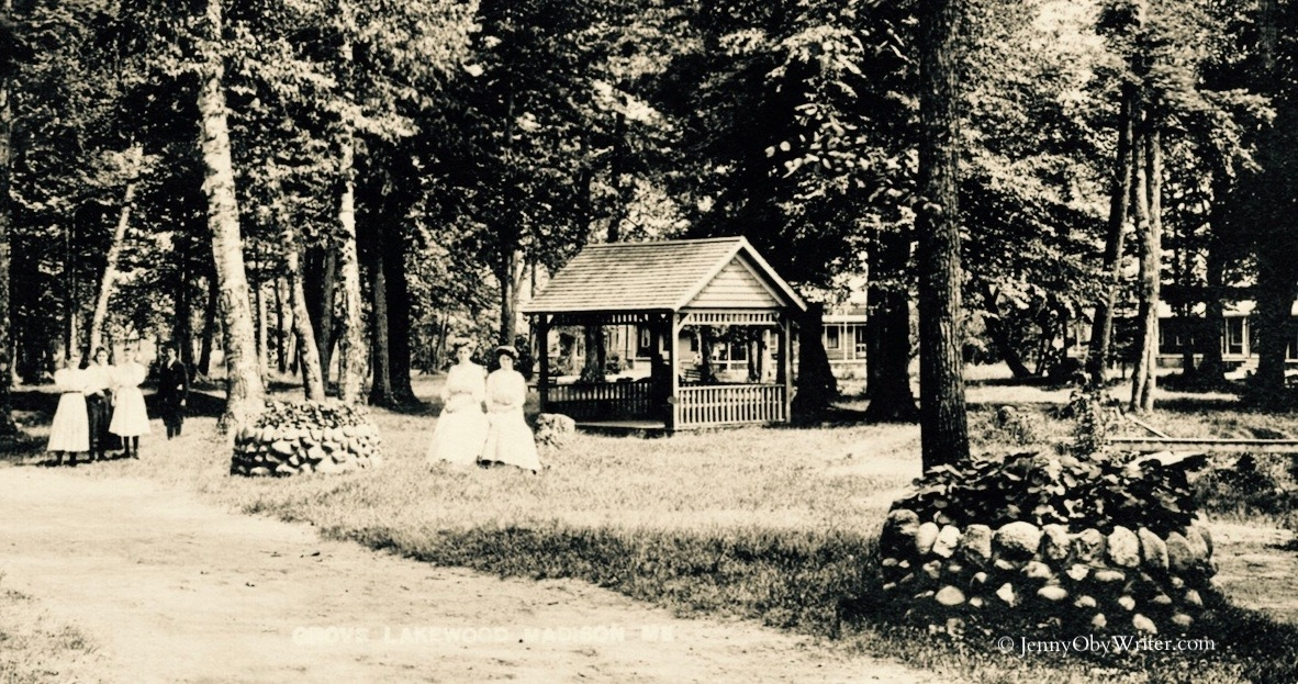 """Pathways and picnic spots in what was then known as """"Lakewood Grove"""" on Hayden's Lake (Lake Wesserunsett)"""