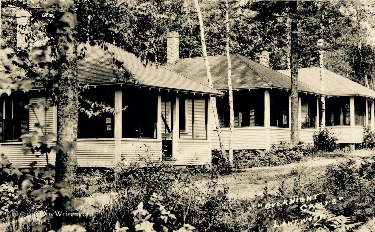 """These were some of the first overnight camps Herbert Swett built in 1923 to replace the accommodations formerly provided by the Lakewood Hotel. Eventually, Swett insisted that the cottages be called """"bungalows"""" to make them sound more quaint. He was a brilliant marketing man. . ."""