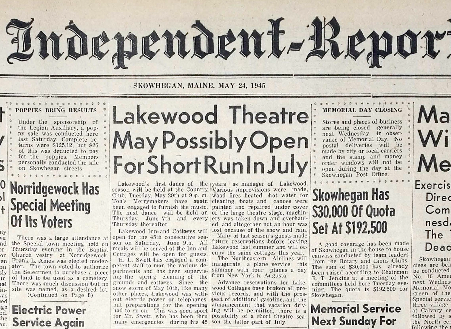 The announcement of Lakewood's opening for a summer theater season - the first since WWII rationing shut down the theater in 1942.