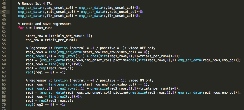 The same snippet of code in Sublime