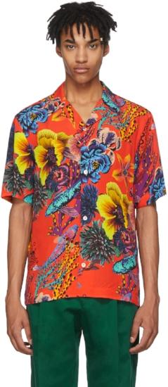 Red Hawaiian Print Shirt, ($236) by Paul Smith